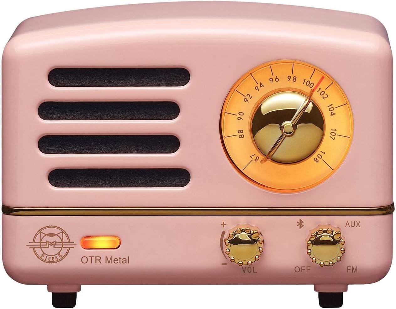 Muzen Portable Wireless High Definition Audio FM Radio Bluetooth Speaker, Metal Pink, Travel Case Included – Classic Vintage Retro Design
