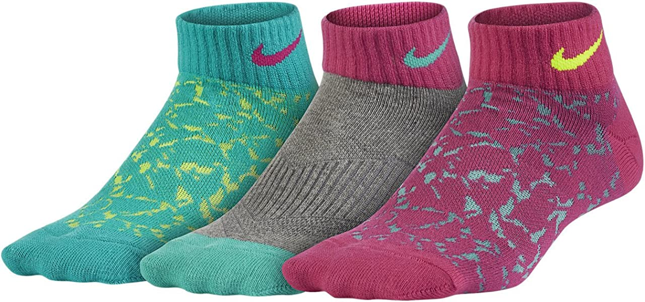 Nike 3 pack Dri-Fit Cotton Crew Socks-pink//white//gray-small 5-6 or Youth 3Y-5Y