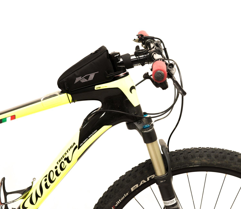 KTbike.it Bolso de Bastidor para Bicicleta con Logo Bordado Ideal para Bicicleta Carretera//MTB//Mountain Bike//Bolsa Bicicletas City Bike Borsello 100/% Made in Italy Tec 19//_ S