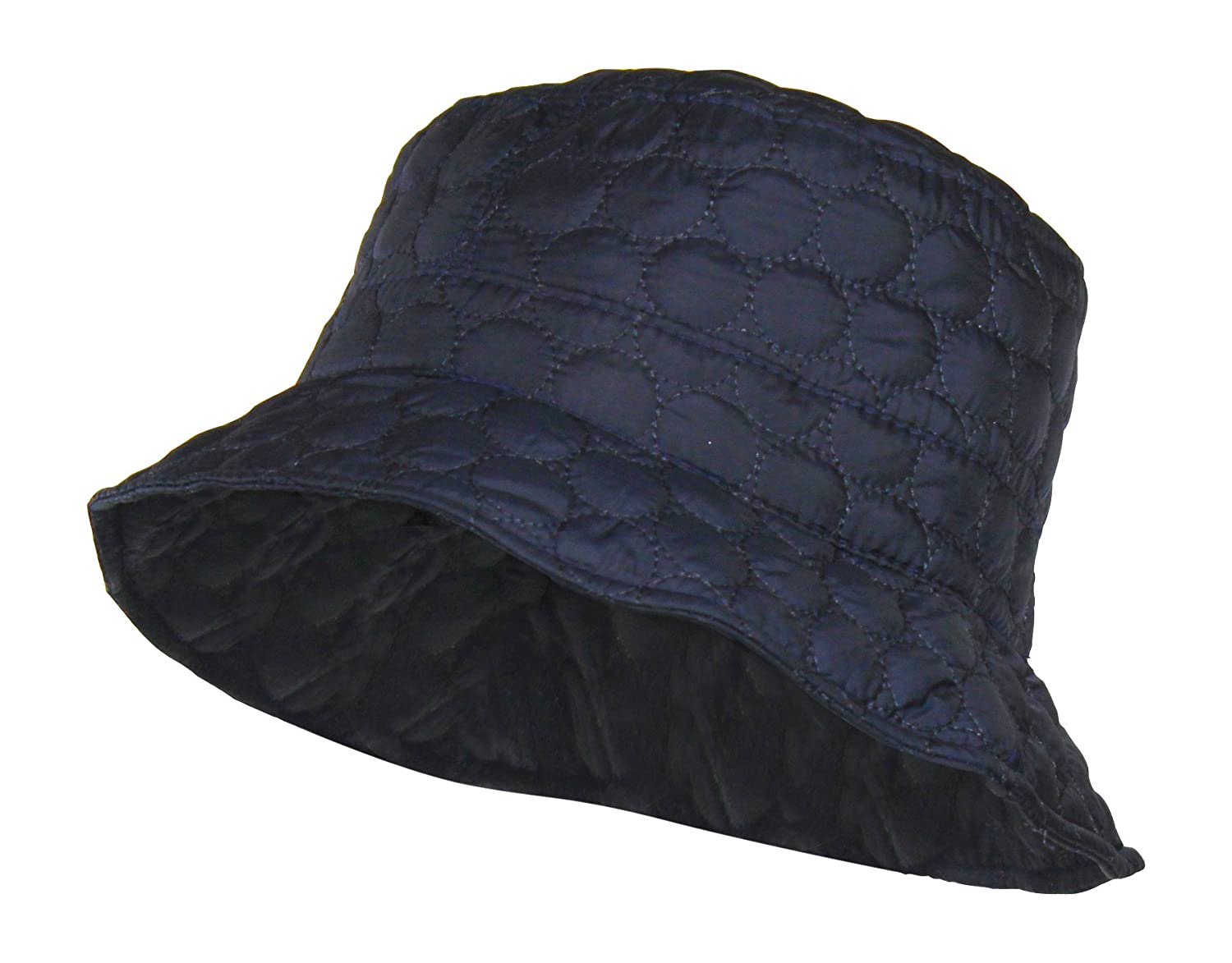 Folie Co. Packable Water Repellent Quilted Bucket Rain Hat w/Adjustable Drawstring