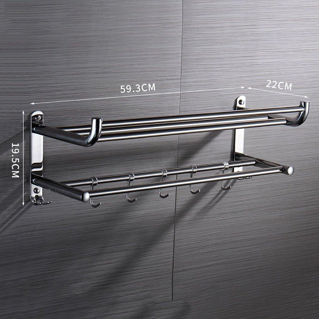 タオルラックステンレス鋼2段タオルラックバスルームのハードウェアアクセサリーバスルームの棚の壁掛けウォールラック タオル棚壁取り付け (サイズ さいず : 79cm) B07F1H1DVJ 79cm 79cm