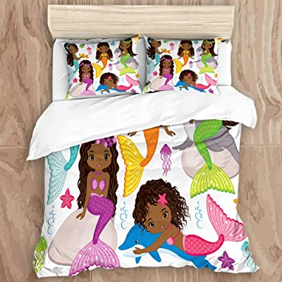 5STARS N&R SHIYUANF Duvet Cover Set,Black Girls Cute Cartoon Mermaid Dolphin Seelowe Colorful Kid Fish Starfilsh,Decorative 3 Piece Bedding Set with 2 Pillow Shams, Queen Size: Home & Kitchen
