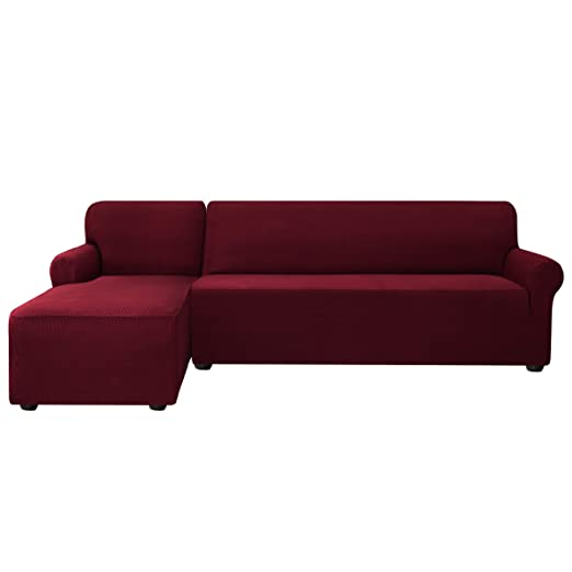 subrtex Funda Sofa Chaise Longue Brazo Izquierdo Elastica Protector para Sofa Chaise Longue Antimanchas Ajustable (Rojo)