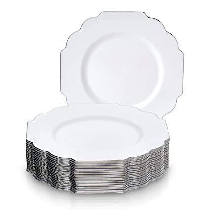 PARTY DISPOSABLE 20 PC DINNERWARE SET | Heavyweight Plastic Dishes | 20 Salad/Dessert plates  sc 1 st  Amazon.com & Amazon.com: PARTY DISPOSABLE 20 PC DINNERWARE SET | Heavyweight ...
