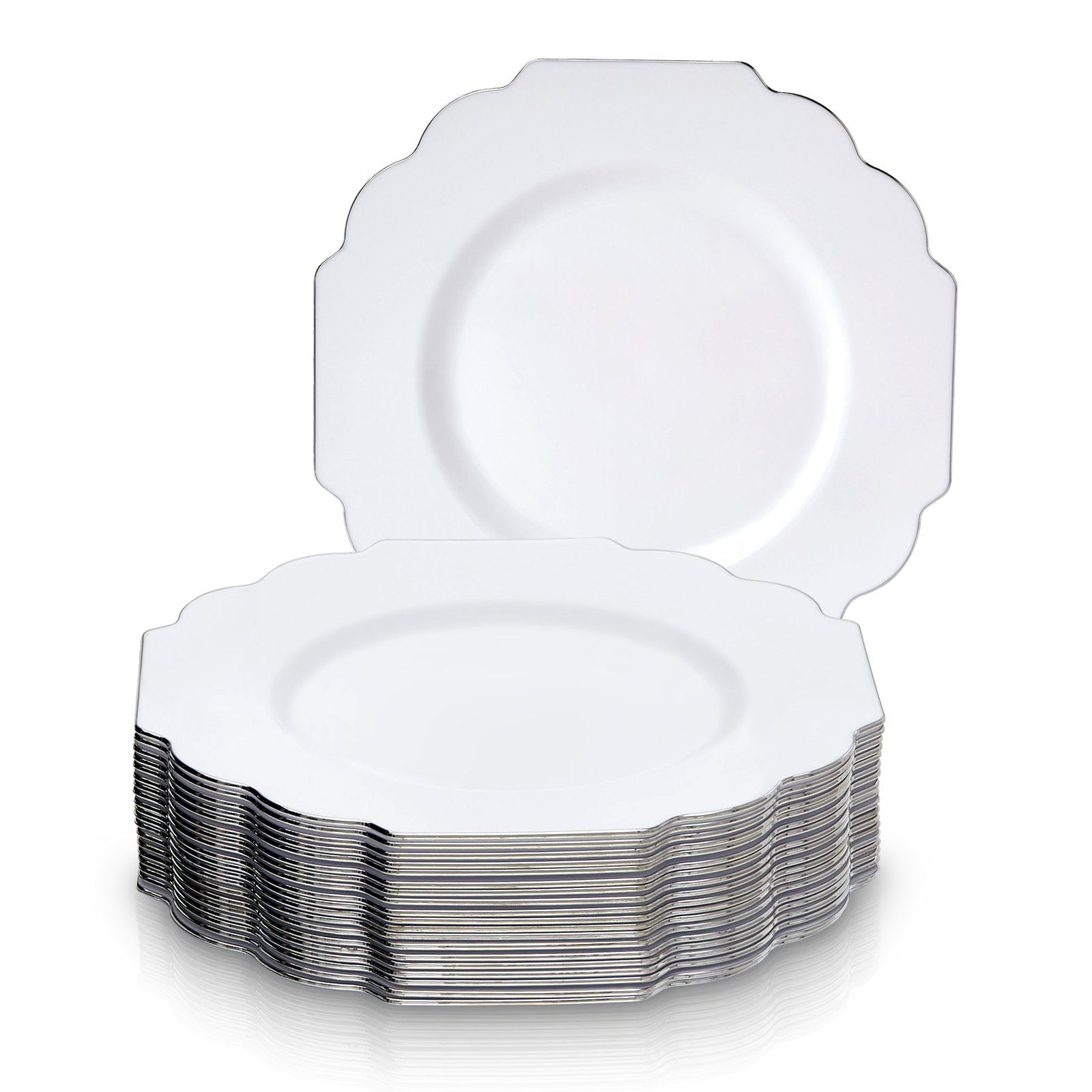 PARTY DISPOSABLE 20 PC DINNERWARE SET | Heavyweight Plastic Dishes | 20 Salad/Dessert plates | Elegant Fine China Look | for Upscale Wedding and Dining (Baroque Collection– Silver Edge/White | 8.5 in)
