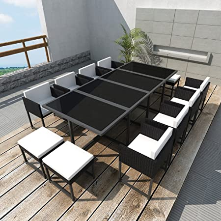 Anself 12 Person Rattan Dining Table Set Black Amazoncouk