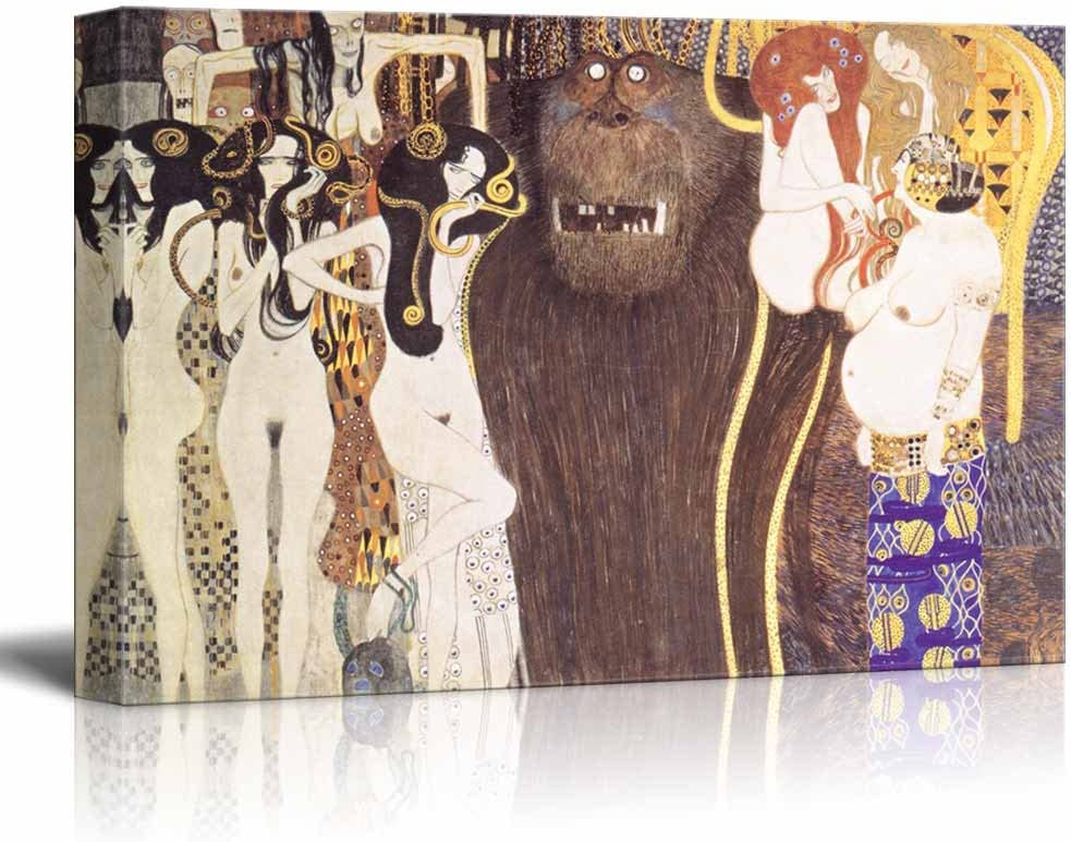Amazon Com Wall26 Beethoven Frieze The Hostile Forces By Gustav Klimt Canvas Print Wall Art Famous Oil Painting Reproduction 24 X 36 Posters Prints