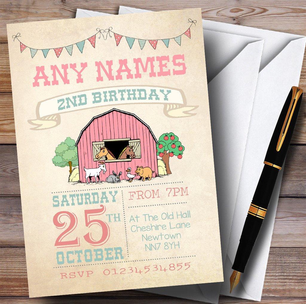 Girls Farm Animals Childrens Birthday Party Invitations