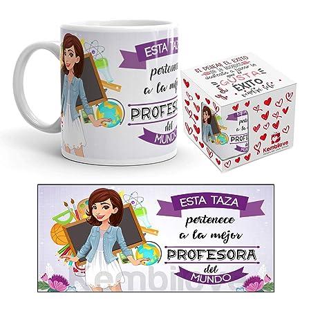 Kembilove Taza de Café de la Mejor Profesora del Mundo – Taza de Desayuno para la Oficina – Taza de Café y Té para Profesionales – Taza de Cerámica ...