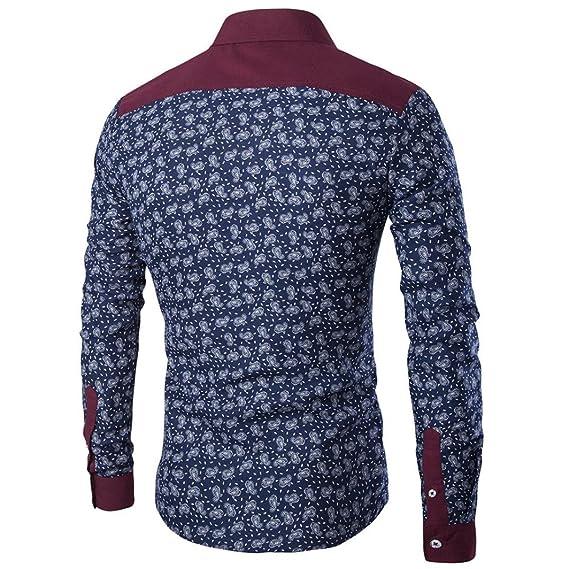 Toamen Camisa para Hombre Delgada del Ajuste De La Manera del OtoñO del Hombre Imprimir Blusa Top Camisa De Manga Larga: Amazon.es: Ropa y accesorios