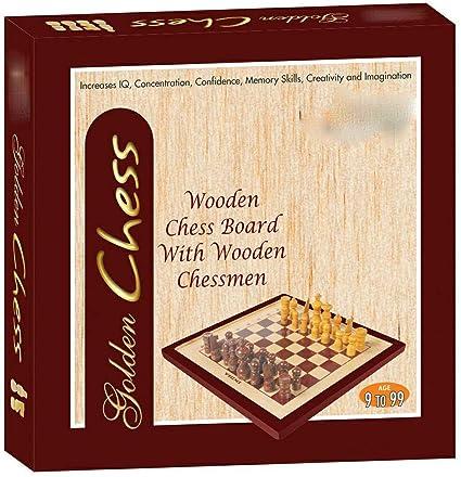 msnakshatra Golden Chess (Wooden chesborad with Wooden Chessmen)