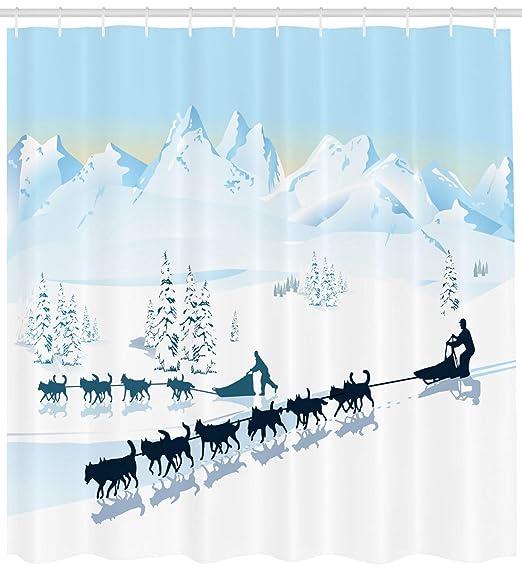 Cortina de ducha Husky, diseño gráfico del paisaje del Polo Norte ...