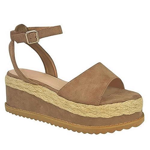 Mujer Gladiador Forma Plana Alpargatas Cuña Correa en Tobillo Sandalias De Plataforma Número: Amazon.es: Zapatos y complementos