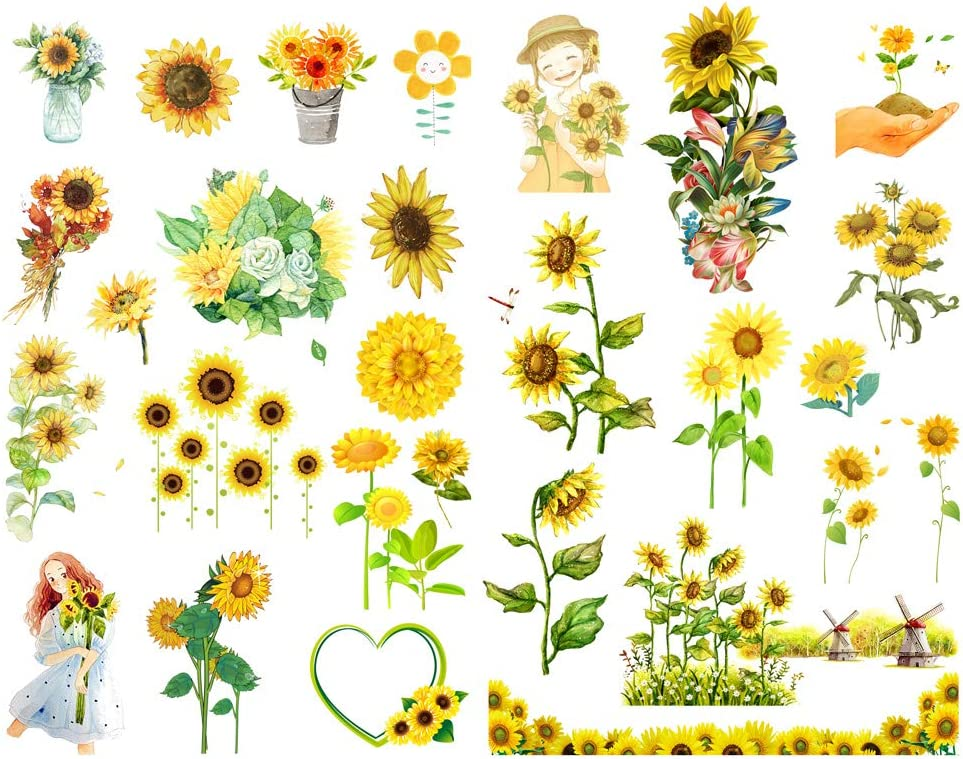 Amazon Com Seasonstorm Hand Painted Sunflower Aesthetic Diary Travel Journal Paper Stickers Scrapbooking Stationery Arts Crafts Sewing
