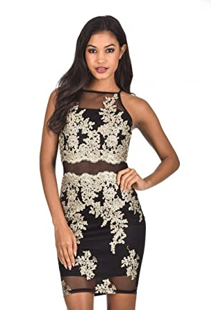 ec1e1e589b5 AX Paris Women s Mesh Embroidered Dress at Amazon Women s Clothing ...