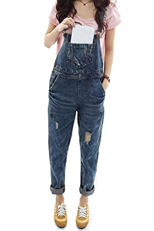 Fanala Trend Washed Denim Full Length Pinafore Dungaree Womens Baggy Overall Jumpsuit