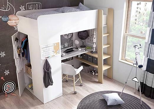 Etagenbett Mit Schrank Und Schreibtisch : Tom hochbett mit kleiderschrank schreibtisch ablage flächen