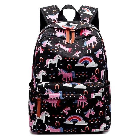 18a9b56b1ac7 MCWTH Casual Waterproof Laptop Backpack Travel Daypack School Bag Bookbags  for Teen Girls and Women - Black Unicorn