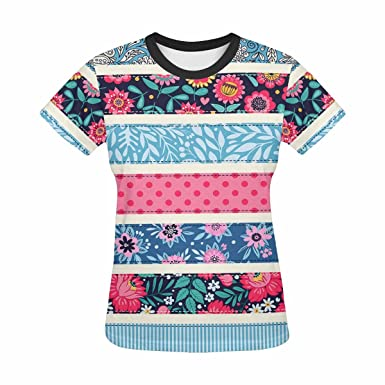 298db95d732 Image Unavailable. Image not available for. Color: Womens Graphic T-Shirts  Print with Colorful Floral Stripes Pattern