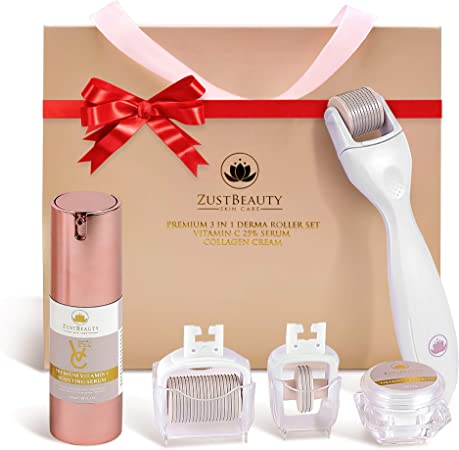 ZUSTBEAUTY | Derma Roller Kit for Face, Body, Stomach | 0.3MM Titanium Microneedle Roller Heads: 180 for Near Eyes, 600 for Face & 1200 for Body | Include Vitamin C Serum & Collagen Cream | Free Case: Amazon.co.uk: Beauty