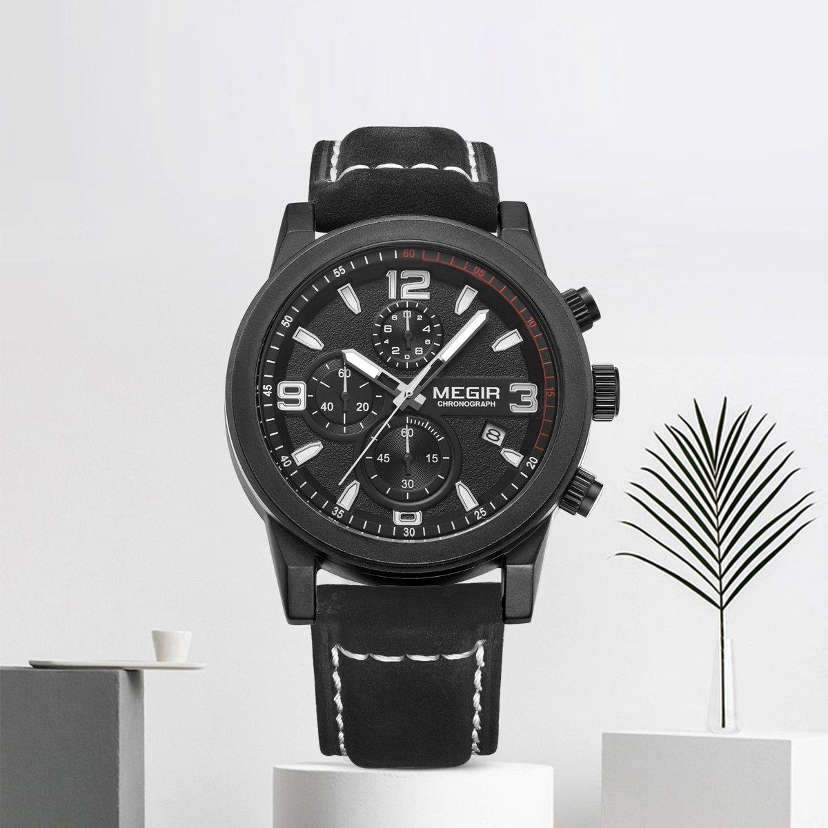 Amazon.com: MEGIR Men Work Wrist Watch Quartz Analog Waterproof Chronograph Business Watch with Leather Band Luminous Hands: Watches