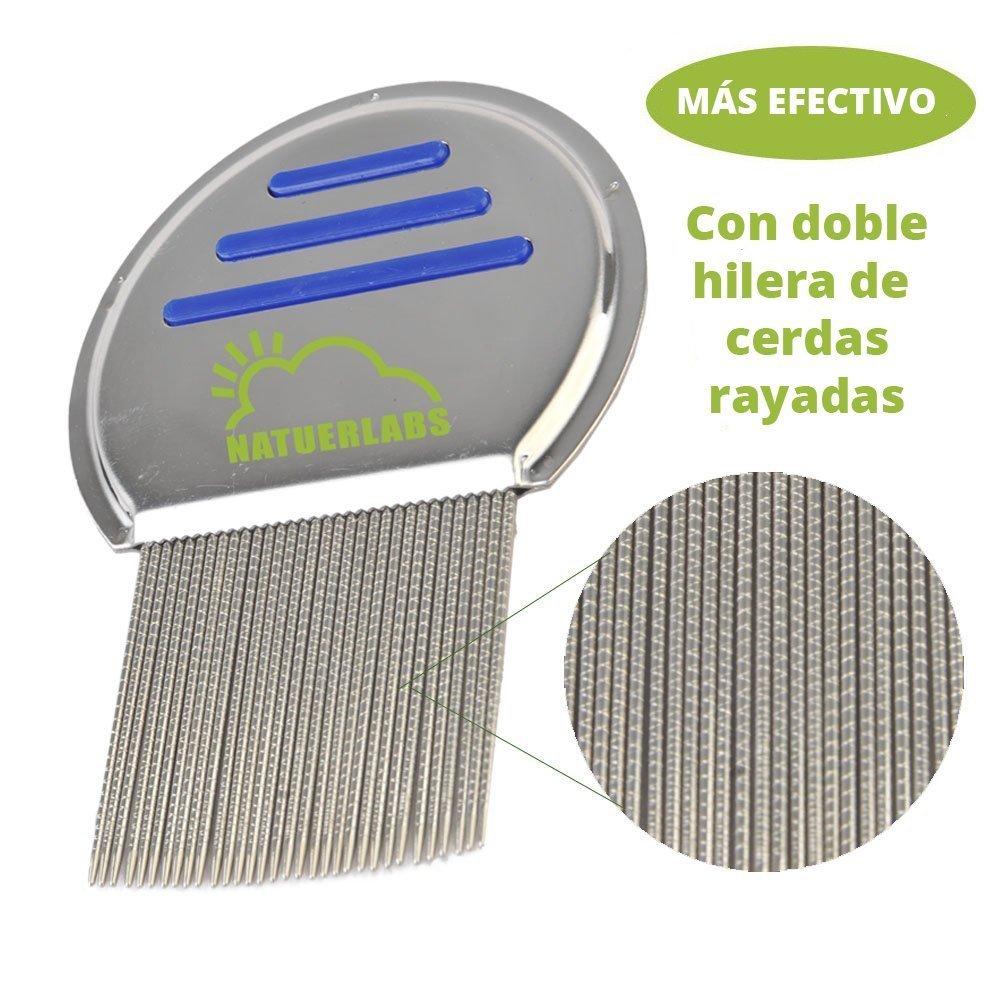 Peine para piojos,con seguridad y facilidad elimina las liendres y los piojos con 33 pines de doble raya - eliminación de piojos más eficaz que los peines de una sola raya.