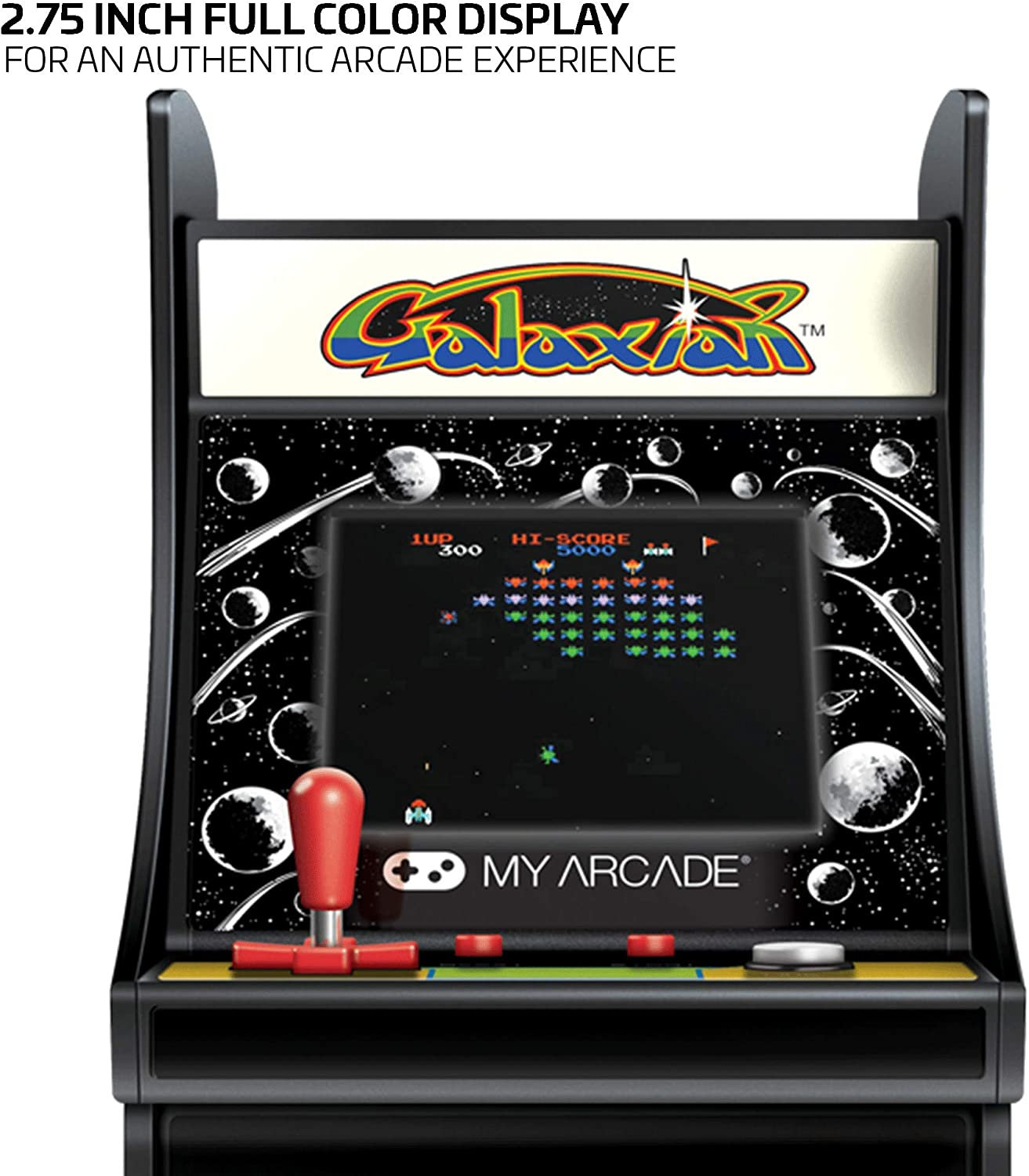 My Arcade Micro Player Mini Arcade Machine: Galaxian Video Game, Fully Playable, 6.75 Inch Collectible, Color Display, Speaker, Volume Buttons, ...