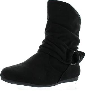 80404c5b0b05f7 Static Footwear Selena-58 Women s Fashion Mid Calf Flat Heel Side Zipper  Slouch Boots