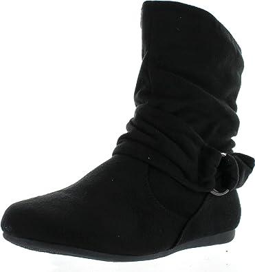 Women's Fashion Calf Flat Heel Side