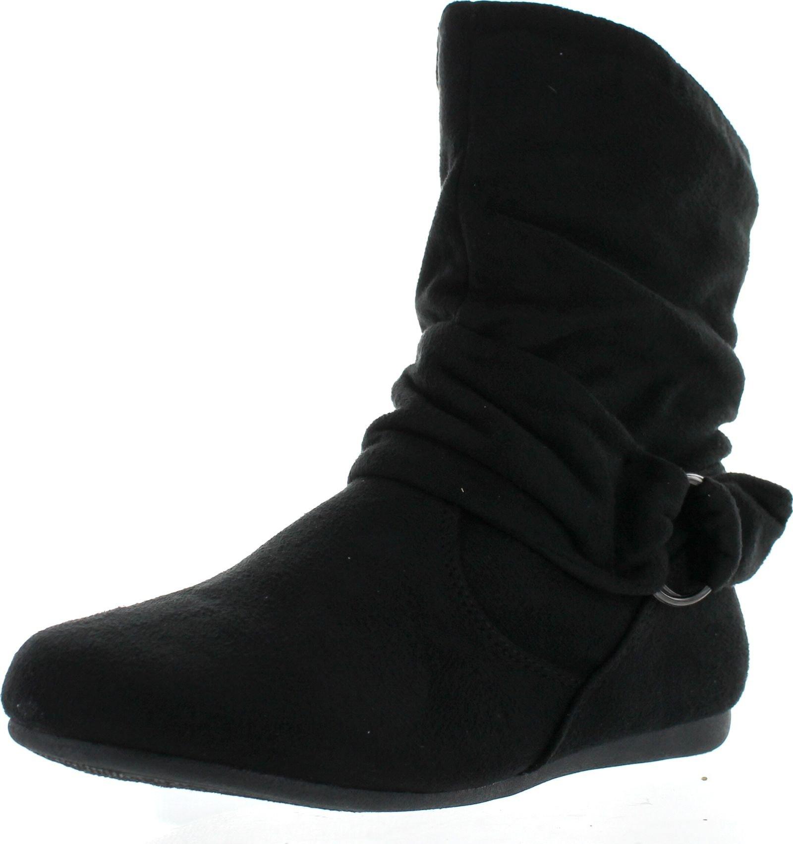 Forever Selena-58 Women's Fashion Mid Calf Flat Heel Side Zipper Slouch Boots,Black,9 by BESTON