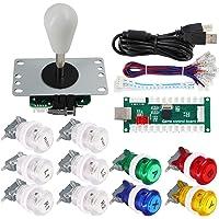 SJ@JX Arcade Game Controller DIY-kit knappar med logotyp mynt X Y start välj 8-vägs joystick USB-kodare för PC MAME…