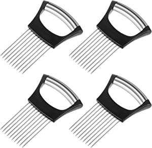4 Pack Onion Holder Slicer Stainless Steel 10 Prongs Food Slicer Assistant for Vegetable/Fruit/Meat Kitchen Food Cutting Tool Gadget Supplies