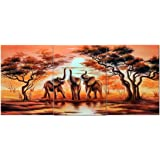 Amoy Art -3 Piece Wall Art African Elephants Canvas Prints on Canvas Wall Art Landscape Pictures Paintings Artwork Stretched and Framed for Living Room Home Décorations (12x16inch x3)