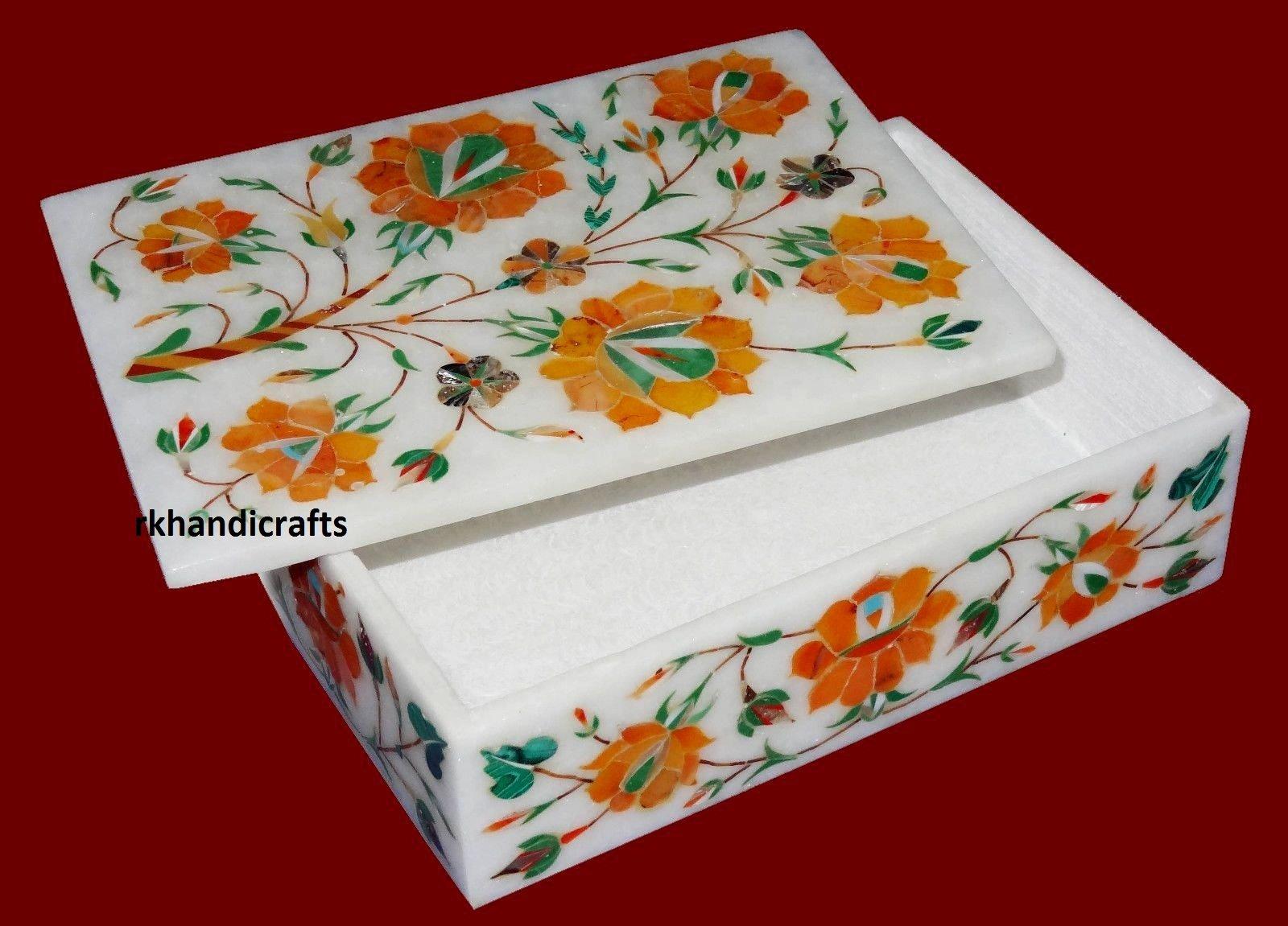 Fine Red Flower Art 7'' x 5'' x 2'' White Marble Trinket Box Cum Jewelry Box Inlay Light Multi Stones by rkhandicrafts (Image #1)