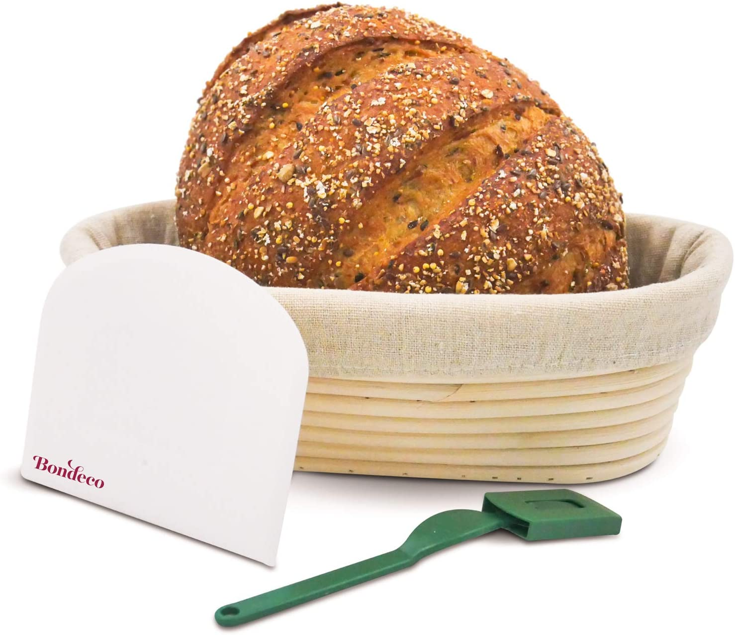 BONDECO Banneton Bread Proofing Basket with Cloth Liner -Oval 10 Inch - Dough Scraper + Bread Lame   Professional and Home Bakers   Artisan Bread Making