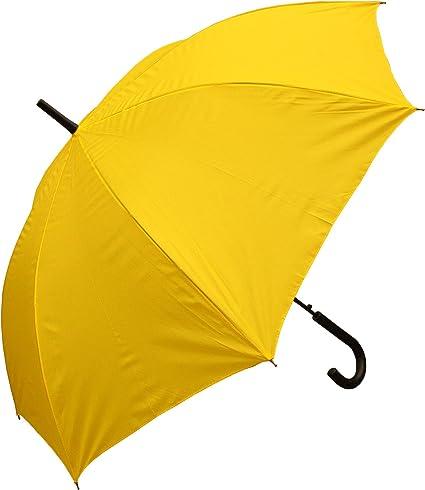 Yellow RainStoppers W032TH Auto Open European Hook Handle Arc Umbrella 48