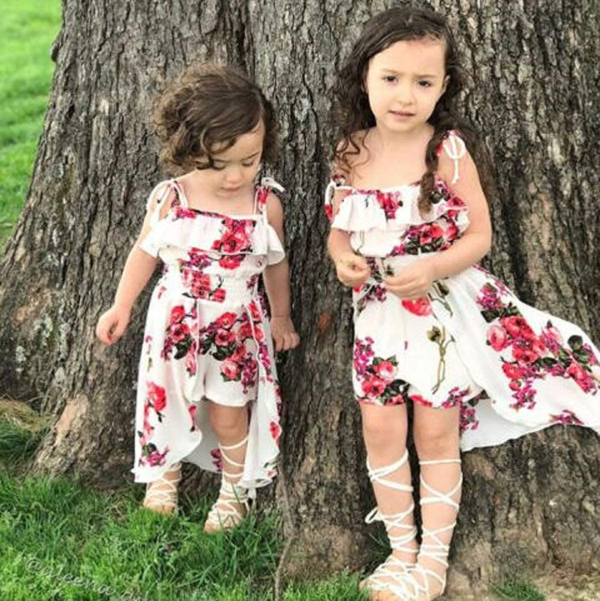 Preciashopping Floral Toddler Kids Baby Girl Clothes Romper Bodysuit Jumpsuit Outfits Dresses Yellow 12-24 Months
