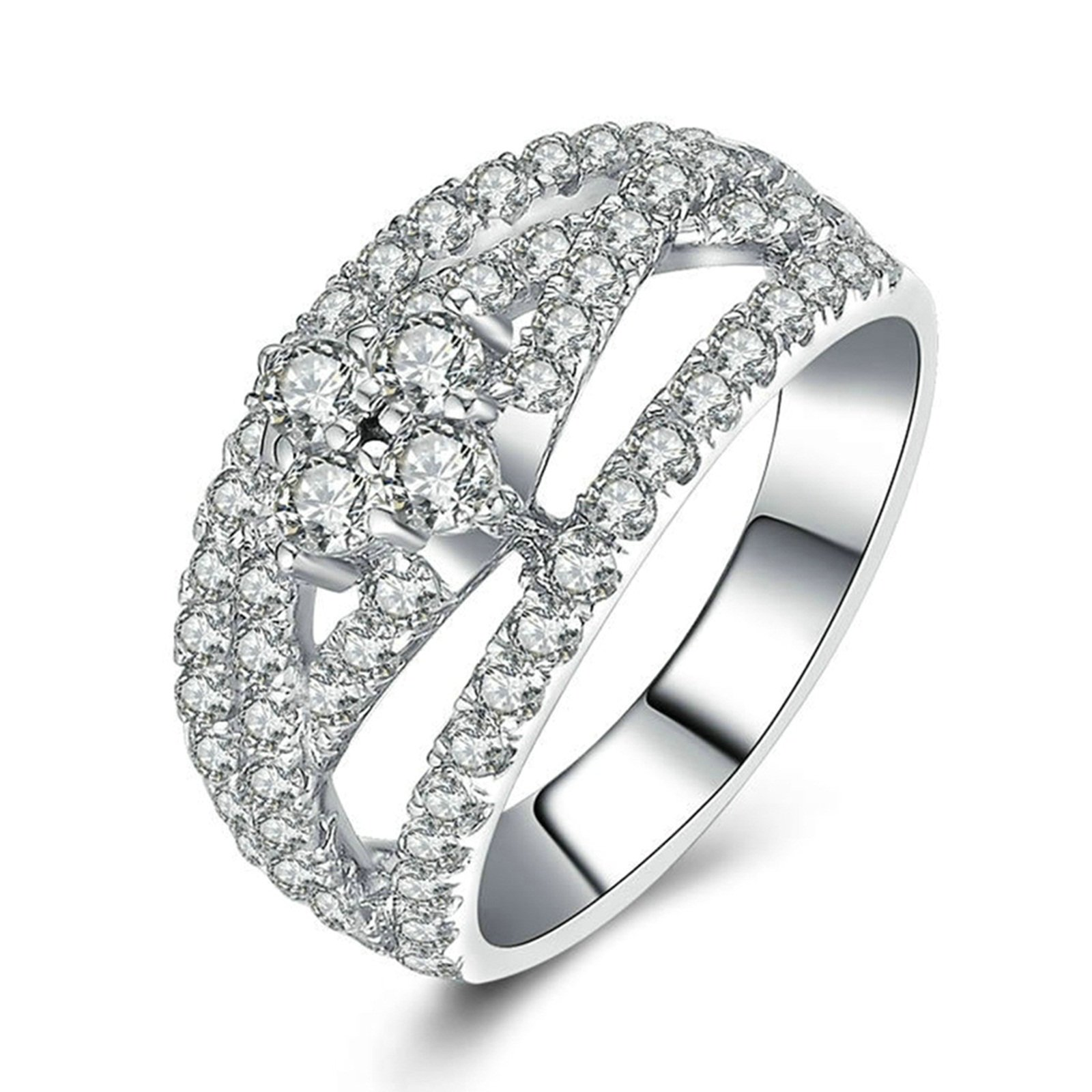 Daesar Engraved Ring Sterling Silver Hollow Ring Round White Cubic Zirconia Ring Size 5