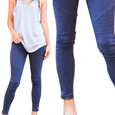 4192a1234e1ed dalia + jade Moto Leggings Ankle Zipper Jeggings Stretchy Biker Pants  Pleated Skinny Jeans (Navy