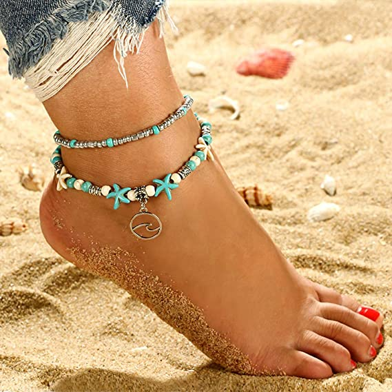 dise/ño de tortuga//onda//elefante//b/úho//coraz/ón//ancla Mingjun 6 unidades tobillera de playa Tobillera de estrella de mar