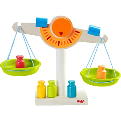HABA Play Store Scale - Wooden Balance with Real Weights for Pretend Kitchen & Measuring Fun : Baby