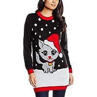 Vestido Negro para Mujer Navidad con Gato con Gorro de Navidad y Copos de Nieve - Tallas 8-16