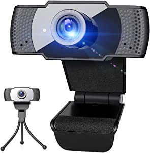 1080P Webcam with Microphone & Tripod for Desktop, PLESON Plug and Play Web Camera for Computer,Laptop,Tablet & Smart TV,2.0 USB Streaming Webcam with Wide View Angle & 2MP Black Light CMOS Sensor