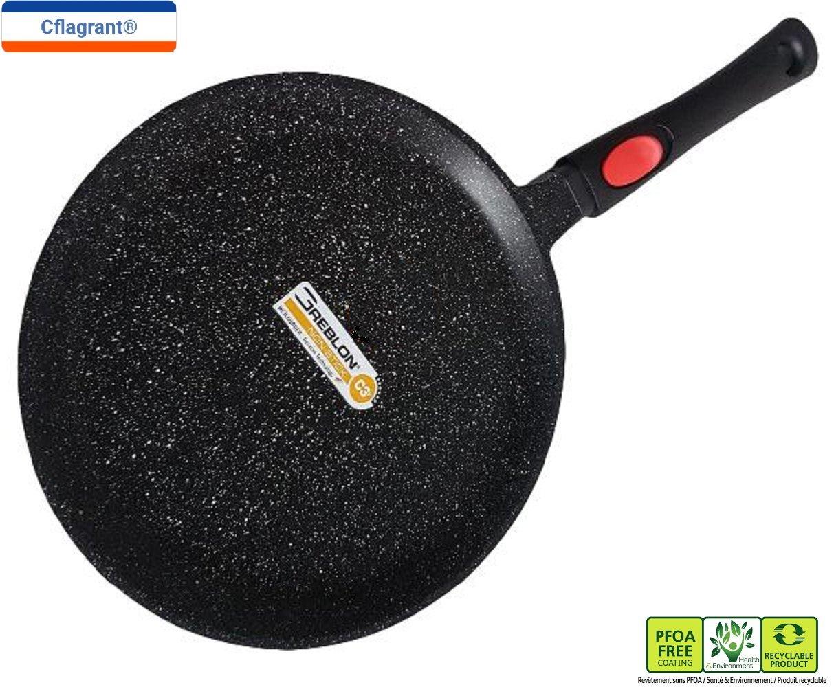 Cflagrant® - Sartén para Crepes/Tortitas/skeppshult 28 cm Piedra inducción sin PFOA cocción sin Materia Grasse Revestimiento de Greblon C3 + de tecnología ...