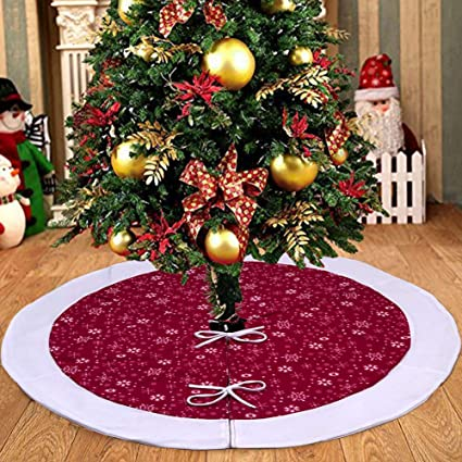 focushow faux fur christmas tree skirt 48 inch with red and white velvet snowflakes pattern for