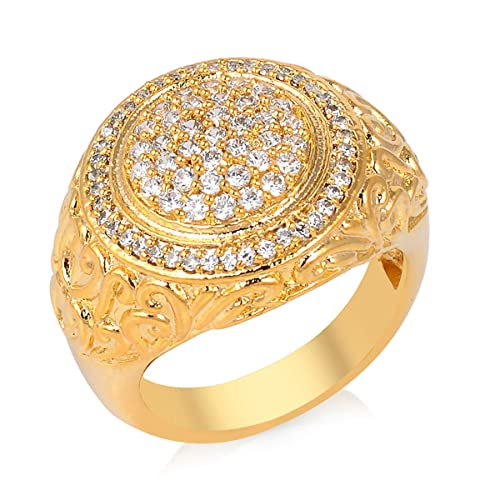 8406ce684534f Amazon.com: Gold Plated New Fashion Designer Ring With Waire Work ...