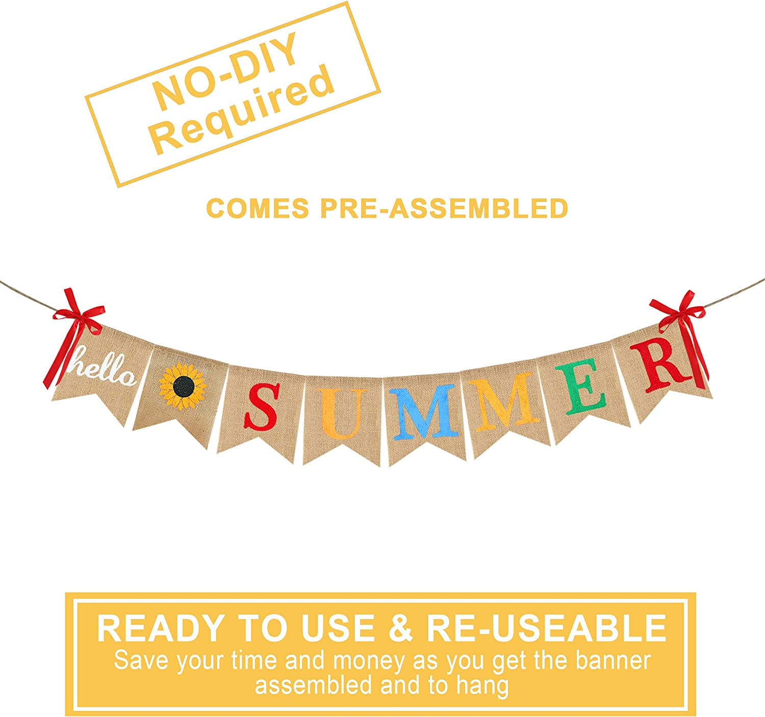 Hello Summer Banner Burlap Bunting Banner Garland Flags for Celebrating the Arrival of Summer