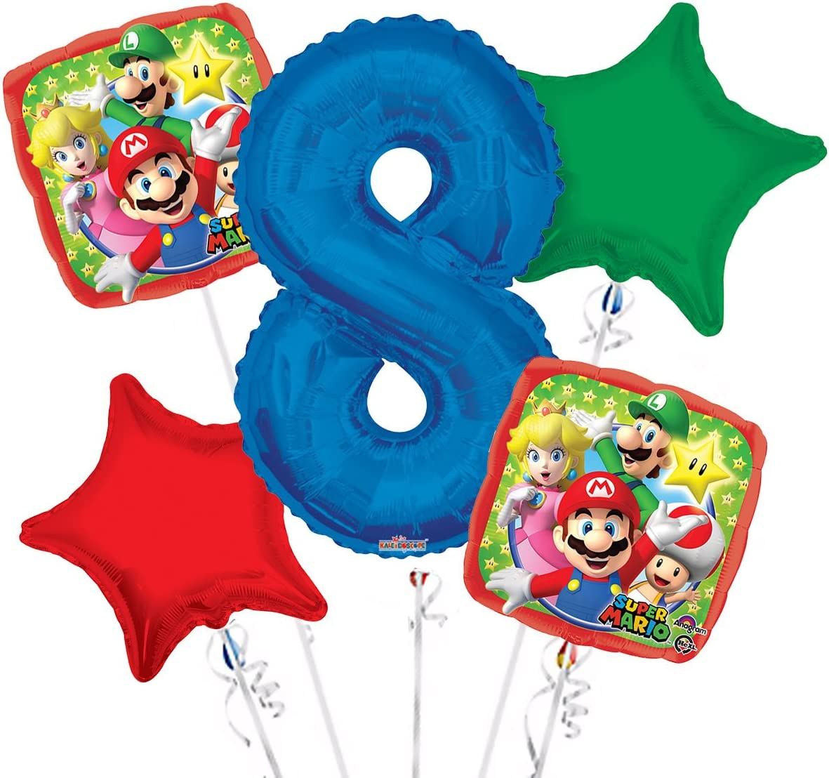 Party Supplies Super Mario Balloon Bouquet 8th Birthday 5 pcs