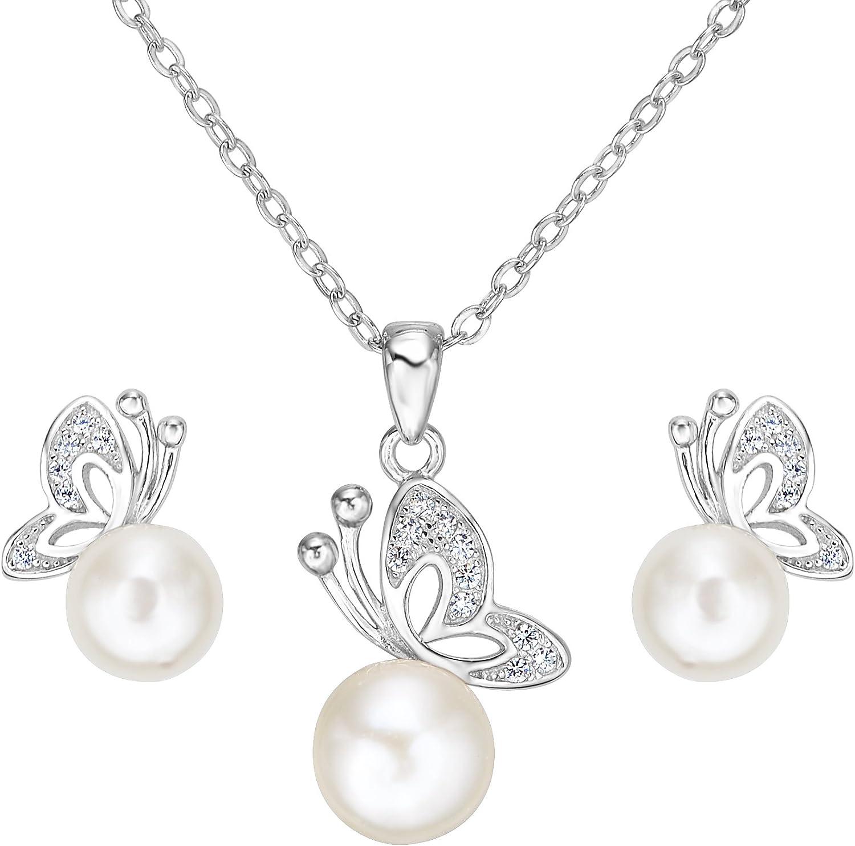 EVER FAITH Plata de Ley 925 Zirconia Perla Cultivada de Agua Dulce Elegante Boda Mariposa Collar Pendientes Conjunto