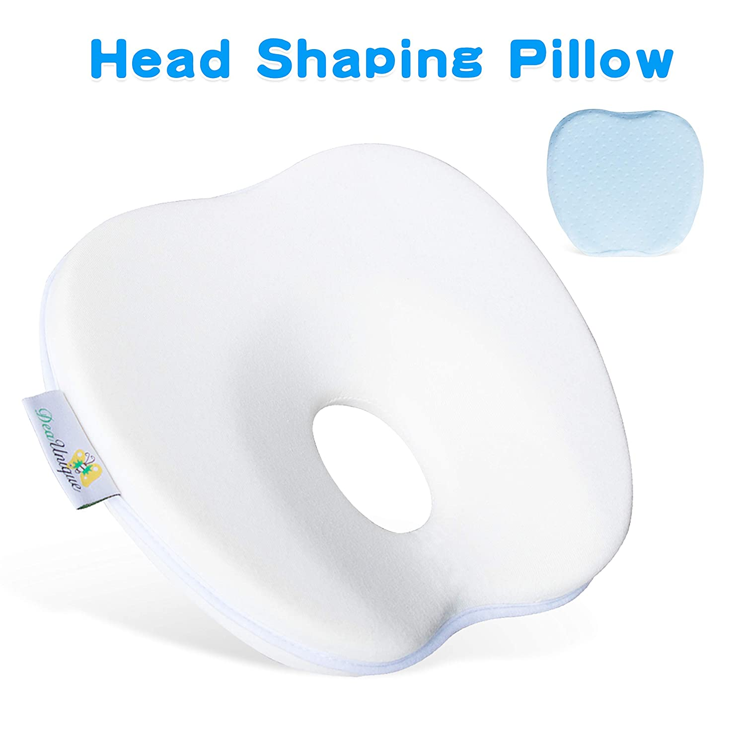 Wuayur Baby Pillow, Baby Memory Foam Cushion Prevent Flat Head Plagiocephaly Head Shaping Pillow Support for Safe Sleeping in Crib for Newborn/Infant/ Girl/Boy